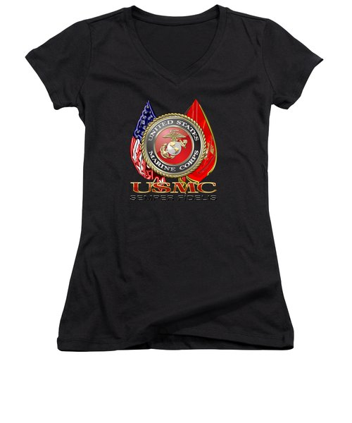 U. S. Marine Corps U S M C Emblem On Black Women's V-Neck T-Shirt (Junior Cut) by Serge Averbukh
