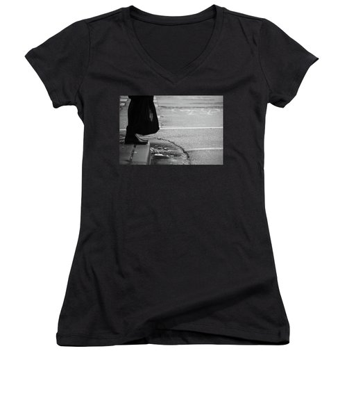 Women's V-Neck T-Shirt (Junior Cut) featuring the photograph U Stopped Me On My Tracks  by Empty Wall