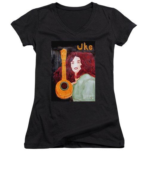 Uke Women's V-Neck T-Shirt (Junior Cut) by Sandy McIntire