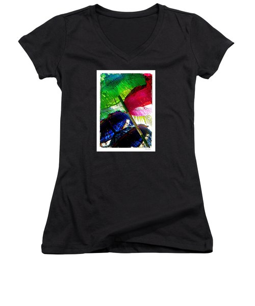 Women's V-Neck T-Shirt (Junior Cut) featuring the photograph Umbrellas Colorful by Linda Olsen