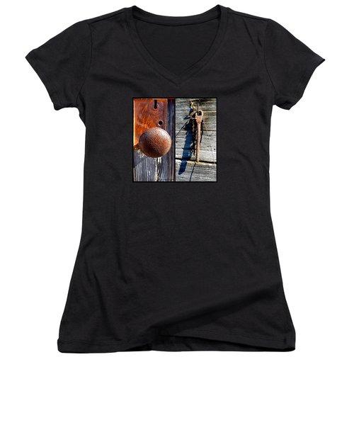 Under Lock And Key Women's V-Neck T-Shirt (Junior Cut) by Christy Ricafrente