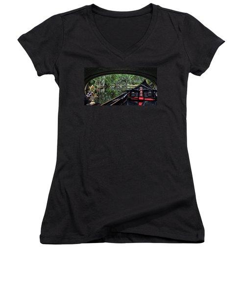 Under The Bridge Women's V-Neck T-Shirt (Junior Cut) by Judy Vincent