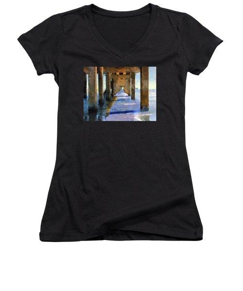 Under The Galvaston Pier Women's V-Neck T-Shirt (Junior Cut) by Cedric Hampton