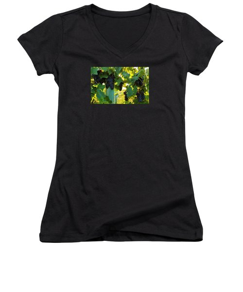 Women's V-Neck T-Shirt (Junior Cut) featuring the photograph Under The Leaves by Lynn Hopwood