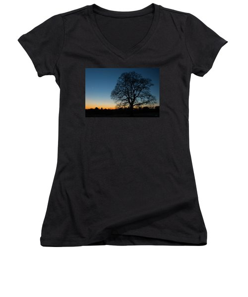 Women's V-Neck T-Shirt (Junior Cut) featuring the photograph Under The New Moon by Dana Sohr