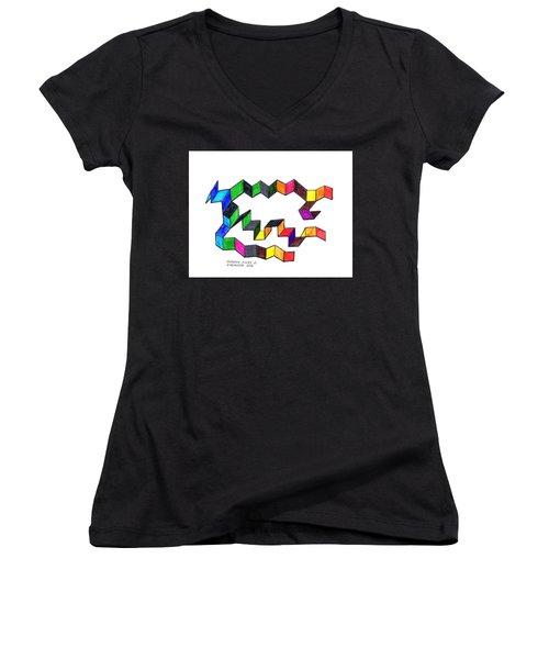 Unfolding Colors 2 Women's V-Neck T-Shirt (Junior Cut) by Paul Meinerth