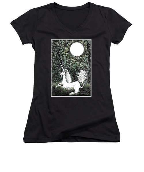 Women's V-Neck T-Shirt (Junior Cut) featuring the drawing Unicorn In Moonlight by Lise Winne