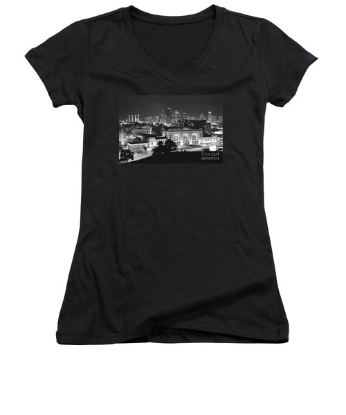 Union Station In Black And White Women's V-Neck (Athletic Fit)
