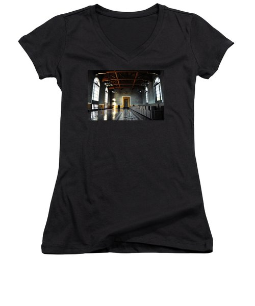 Women's V-Neck T-Shirt (Junior Cut) featuring the photograph Union Station Los Angeles by Kyle Hanson