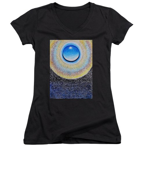 Universal Eye In Blue Women's V-Neck (Athletic Fit)