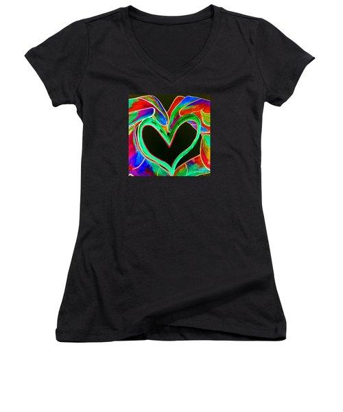 Universal Sign For Love Women's V-Neck T-Shirt (Junior Cut) by Eloise Schneider