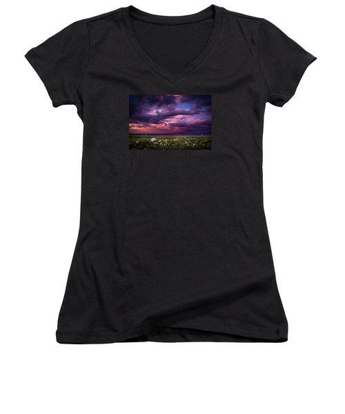 Unsettled Women's V-Neck T-Shirt (Junior Cut) by Peter Scott
