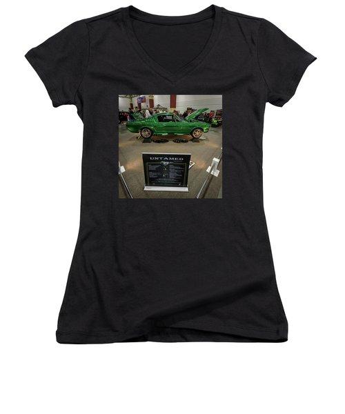 Untamed Women's V-Neck T-Shirt (Junior Cut) by Randy Scherkenbach