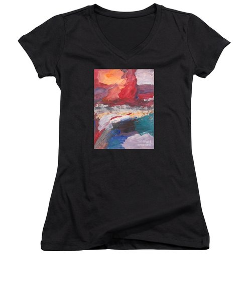 Untitled 98 Original Painting Women's V-Neck (Athletic Fit)