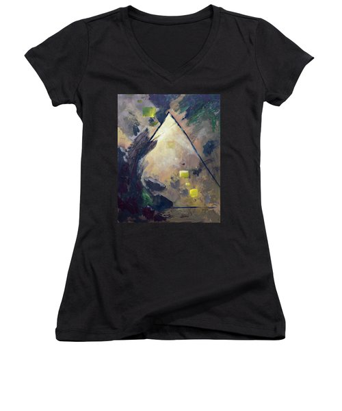 Untitled Abstract 730-17 Women's V-Neck T-Shirt