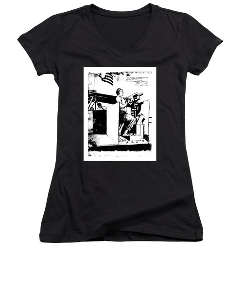 Women's V-Neck T-Shirt (Junior Cut) featuring the drawing Untitled by Bob George