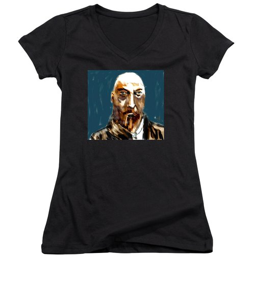 Women's V-Neck T-Shirt (Junior Cut) featuring the painting Ivan by Jim Vance