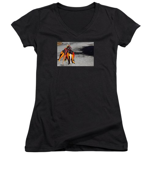 Women's V-Neck T-Shirt (Junior Cut) featuring the photograph Unusual Catch by Richard Patmore