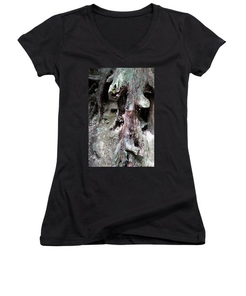 Unusual Tree Root Women's V-Neck (Athletic Fit)