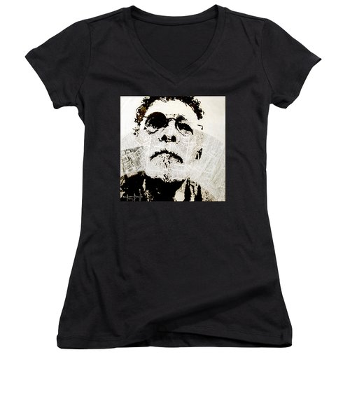 Women's V-Neck T-Shirt (Junior Cut) featuring the painting Unwanted Things by Ron Richard Baviello