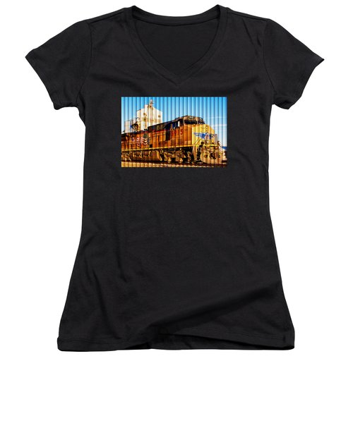 Women's V-Neck T-Shirt (Junior Cut) featuring the photograph Up 5915 At Track Speed by Bill Kesler