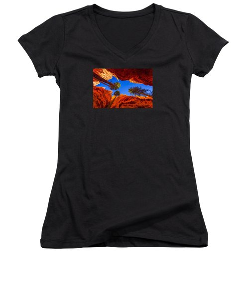 Up From Wall Street Women's V-Neck T-Shirt (Junior Cut) by Chad Dutson