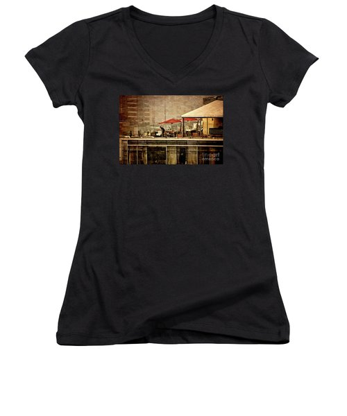Women's V-Neck T-Shirt (Junior Cut) featuring the photograph Up On The Roof - Miraflores Peru by Mary Machare