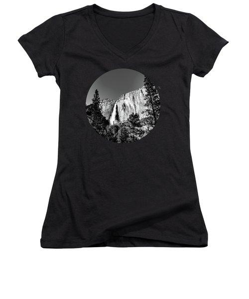 Upper Falls, Black And White Women's V-Neck T-Shirt (Junior Cut) by Adam Morsa