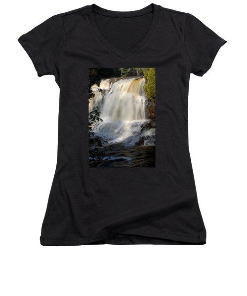 Upper Falls Gooseberry River 2 Women's V-Neck