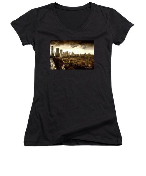 Upper West Side Of New York In Spring Women's V-Neck (Athletic Fit)
