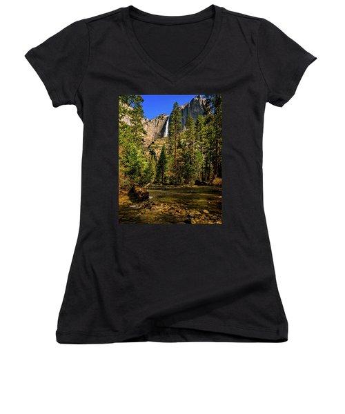 Upper Yosemite Falls From Yosemite Creek Women's V-Neck