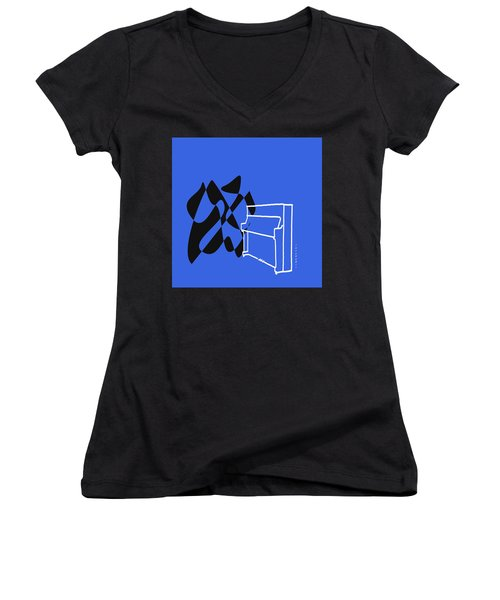 Women's V-Neck T-Shirt (Junior Cut) featuring the digital art Upright Piano In Blue by Jazz DaBri