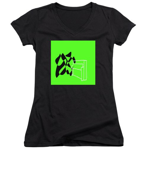 Women's V-Neck T-Shirt (Junior Cut) featuring the digital art Upright Piano In Green by Jazz DaBri