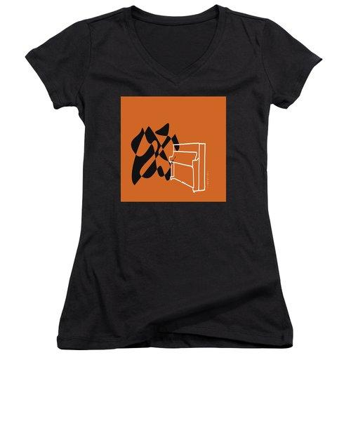 Women's V-Neck T-Shirt (Junior Cut) featuring the digital art Upright Piano In Orange by Jazz DaBri