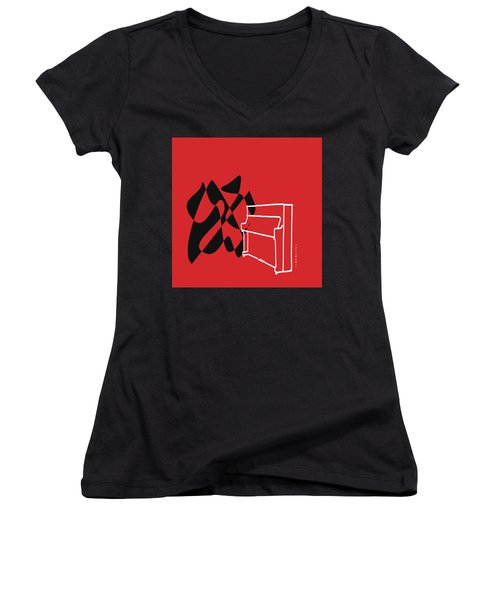 Women's V-Neck T-Shirt (Junior Cut) featuring the digital art Upright Piano In Red by Jazz DaBri