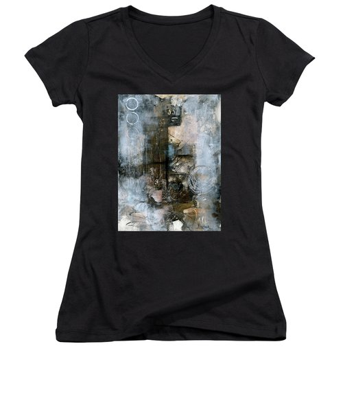 Urban Abstract Cool Tones Women's V-Neck (Athletic Fit)