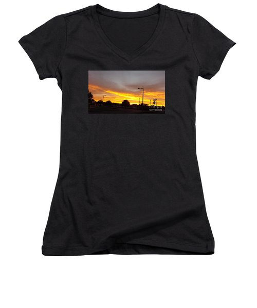 Urban Sunset Women's V-Neck (Athletic Fit)