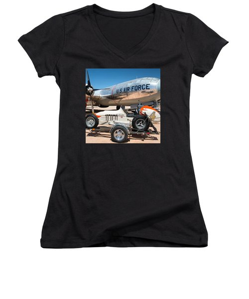 Us Air Force Airplane And Race Car  Women's V-Neck