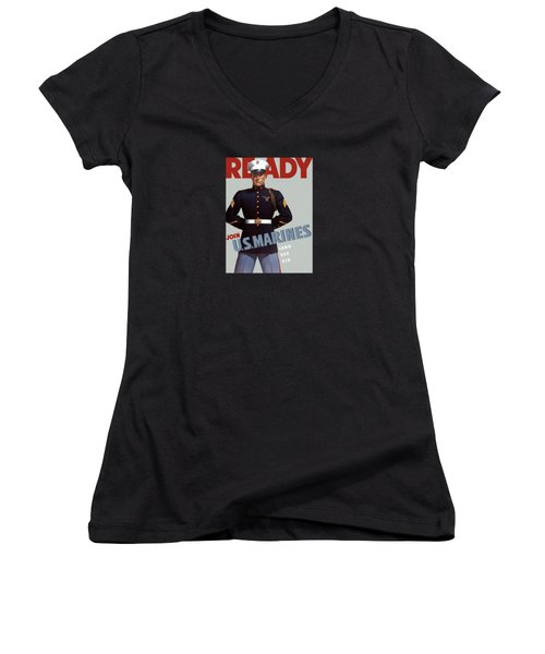 Us Marines - Ready Women's V-Neck T-Shirt (Junior Cut) by War Is Hell Store