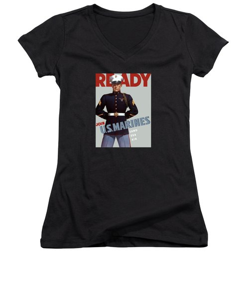 Us Marines - Ready Women's V-Neck (Athletic Fit)
