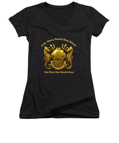 U.s. Navy Deep Sea Diver We Dive The World Over Women's V-Neck (Athletic Fit)
