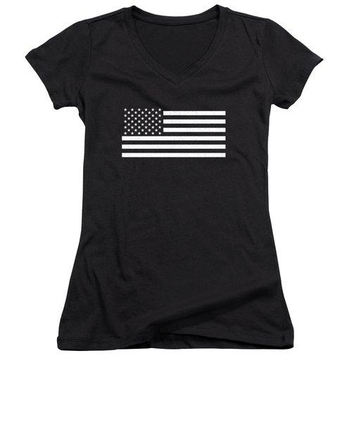 Women's V-Neck T-Shirt (Junior Cut) featuring the digital art Usa Flag Hidef Super Grunge Patina by Bruce Stanfield