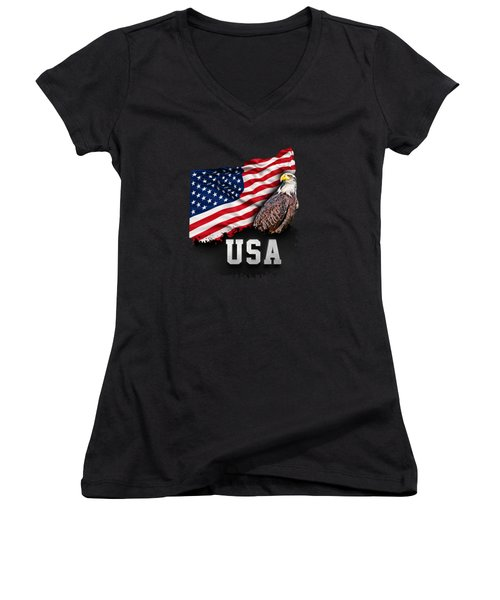 Usa Flag With Bald Eagle 4th Of July Women's V-Neck T-Shirt (Junior Cut) by Carsten Reisinger