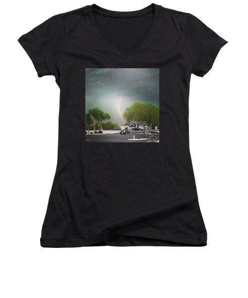 Lightning  Women's V-Neck T-Shirt (Junior Cut) by Speedy Birdman