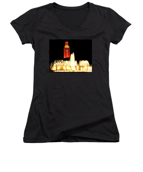 Ut Tower Championship Win Women's V-Neck T-Shirt (Junior Cut) by Marilyn Hunt
