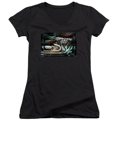 Women's V-Neck T-Shirt (Junior Cut) featuring the photograph V Twin by WB Johnston