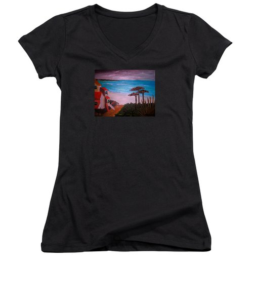 Women's V-Neck T-Shirt (Junior Cut) featuring the painting On Vacation by Pristine Cartera Turkus