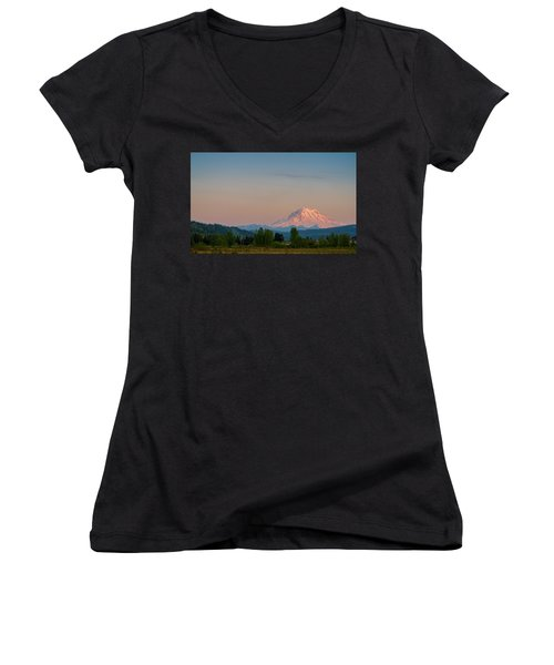 Valley Sunset Of Mt Rainier Women's V-Neck (Athletic Fit)