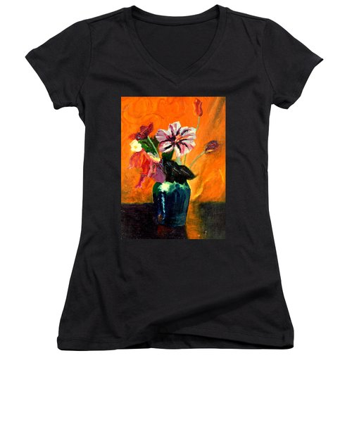 Vase With Flowers Women's V-Neck (Athletic Fit)