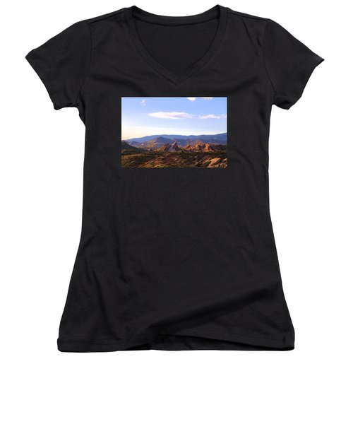 Vasquez Rocks Sky And Stones Women's V-Neck (Athletic Fit)